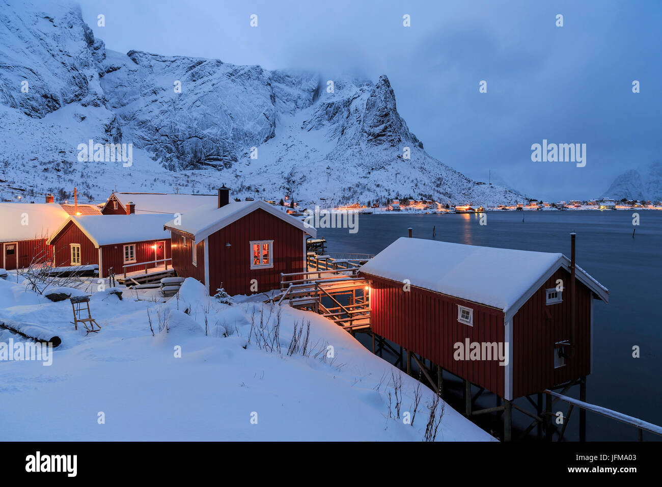 Typical fisherman Homes on the fishing bay of Reine fishing village, Lofoten islands, norway - Stock Image