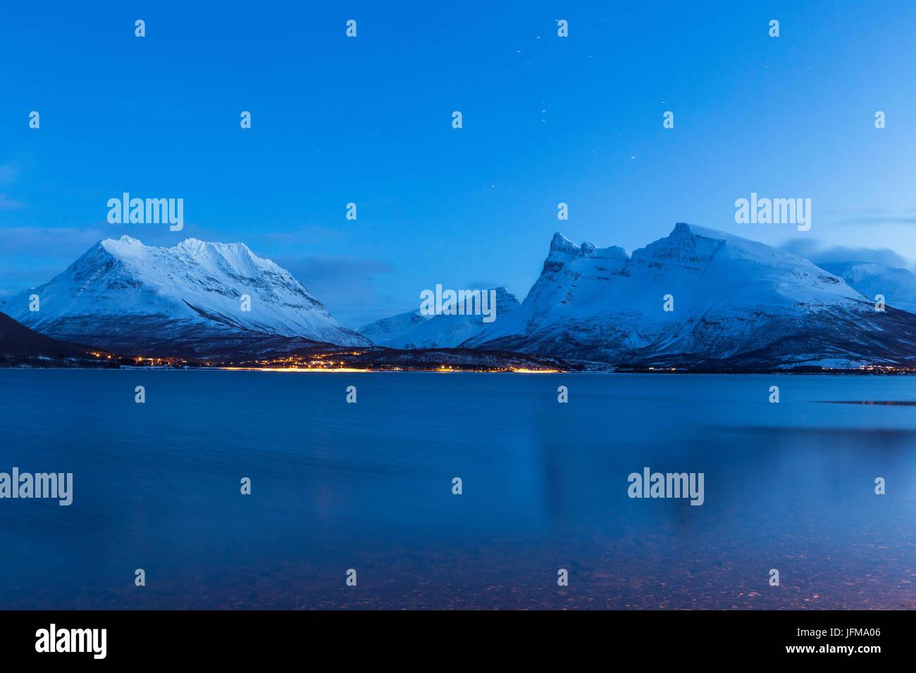 Night fall in the Lyngen Alps, Norway - Stock Image
