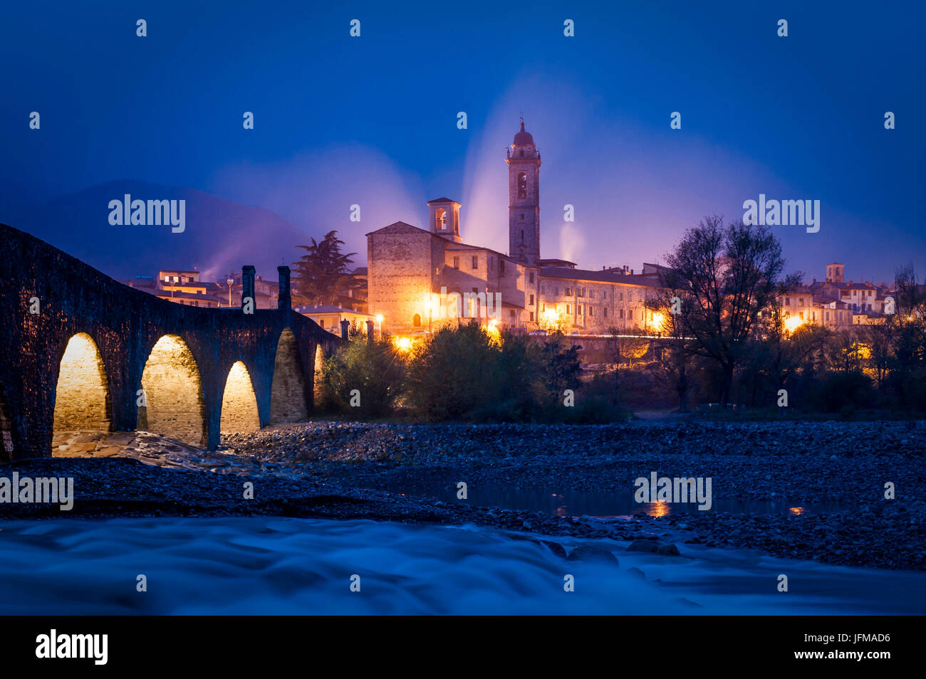 Bobbio, Trebbia Valley, Piacenza, Emilia Romagna, Italy, The small town near Trebbia river, - Stock Image