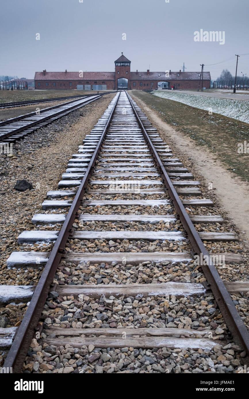 Auschwitz, Oswiecim, Birkenau, Brzezinka, Poland, North East Europe, Entrance in former Nazi extermination camp, - Stock Image