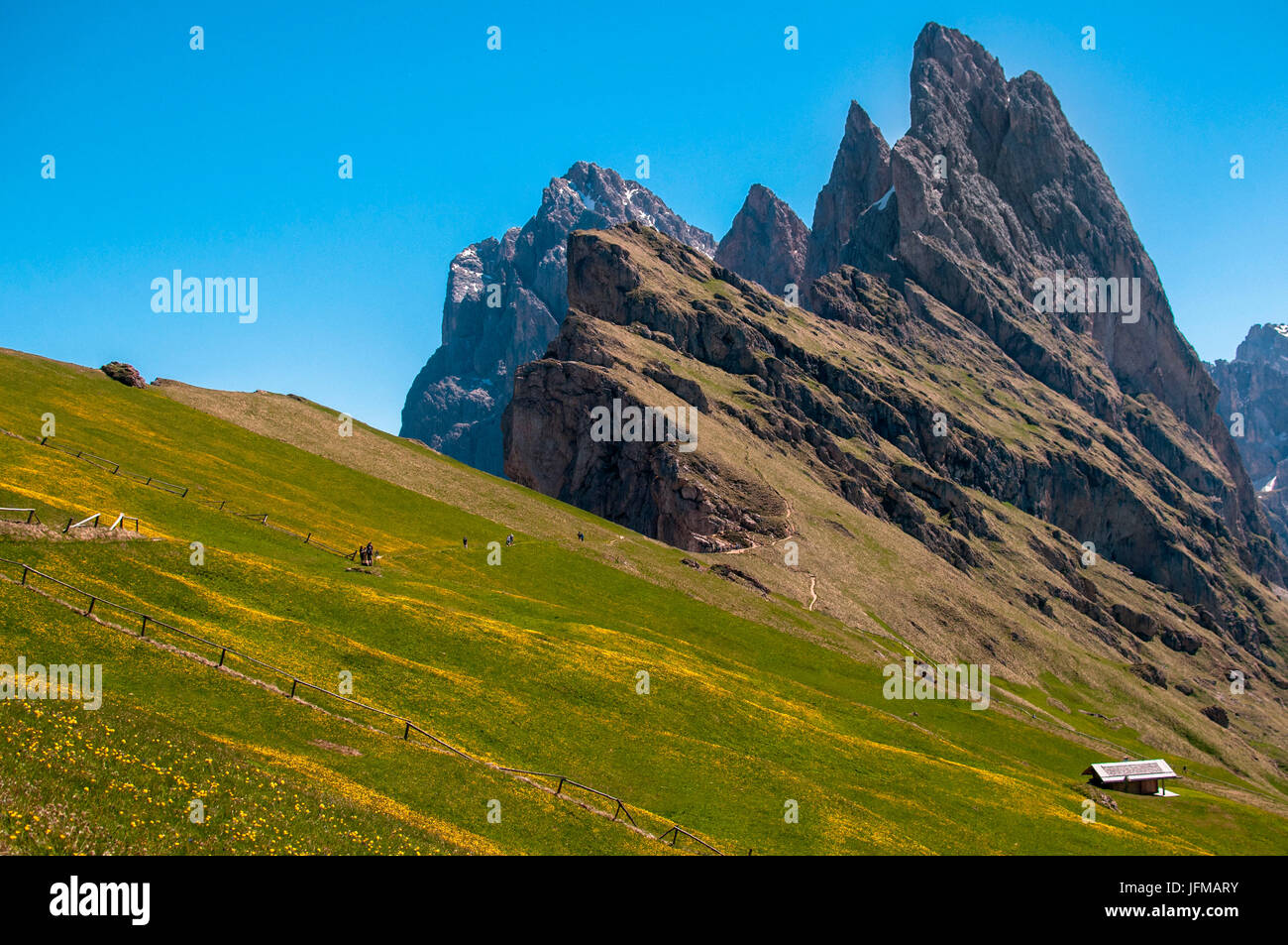 Landscape on the Seceda mountains with great views of the rocky peaks, Dolomiti, Trentino Alto Adige, Italy, - Stock Image