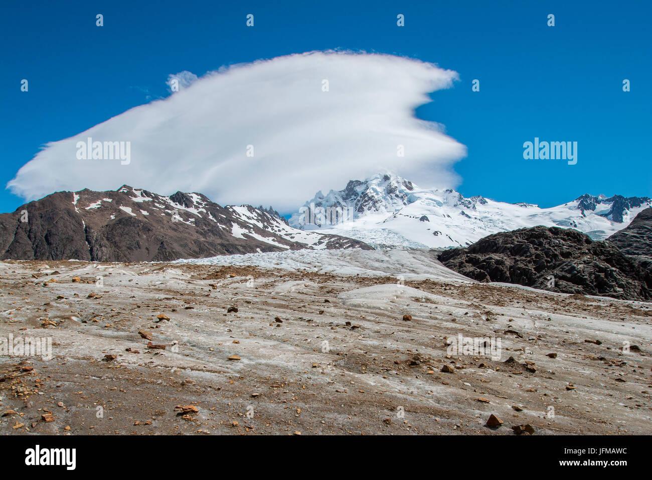 South America, Ande Mountains, Argentina, Patagonia, El Chalten, Glacier Rio Tunel Inferior, Lenticular - Stock Image