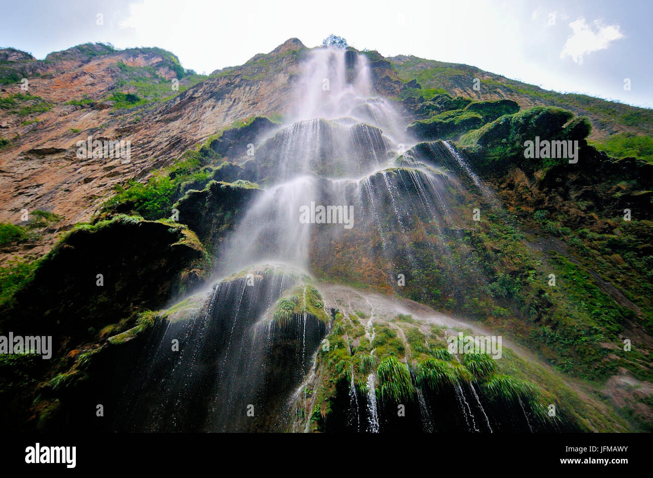 Under a waterfall in the Canyon Sumidero, Chiapas, Mexico - Stock Image