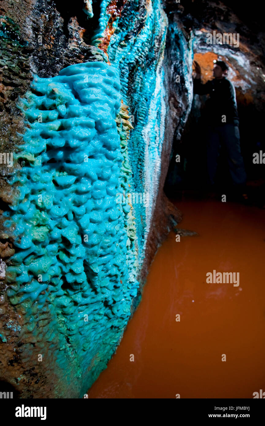 Old abandoned mine in North Italy, copper blu concrection - Stock Image