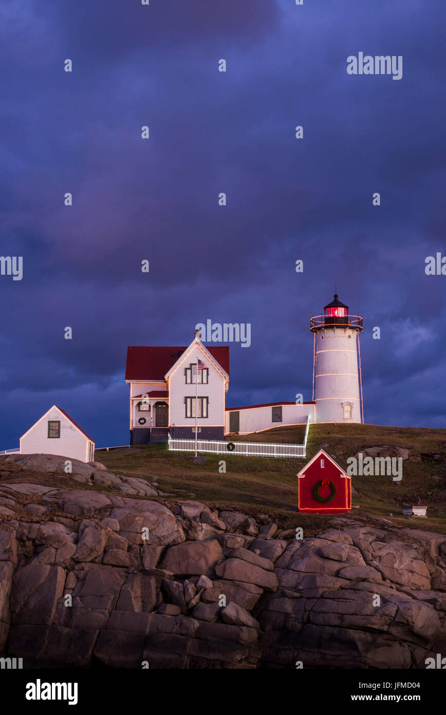 usa maine york beach nubble light lighthouse with christmas decorations dusk