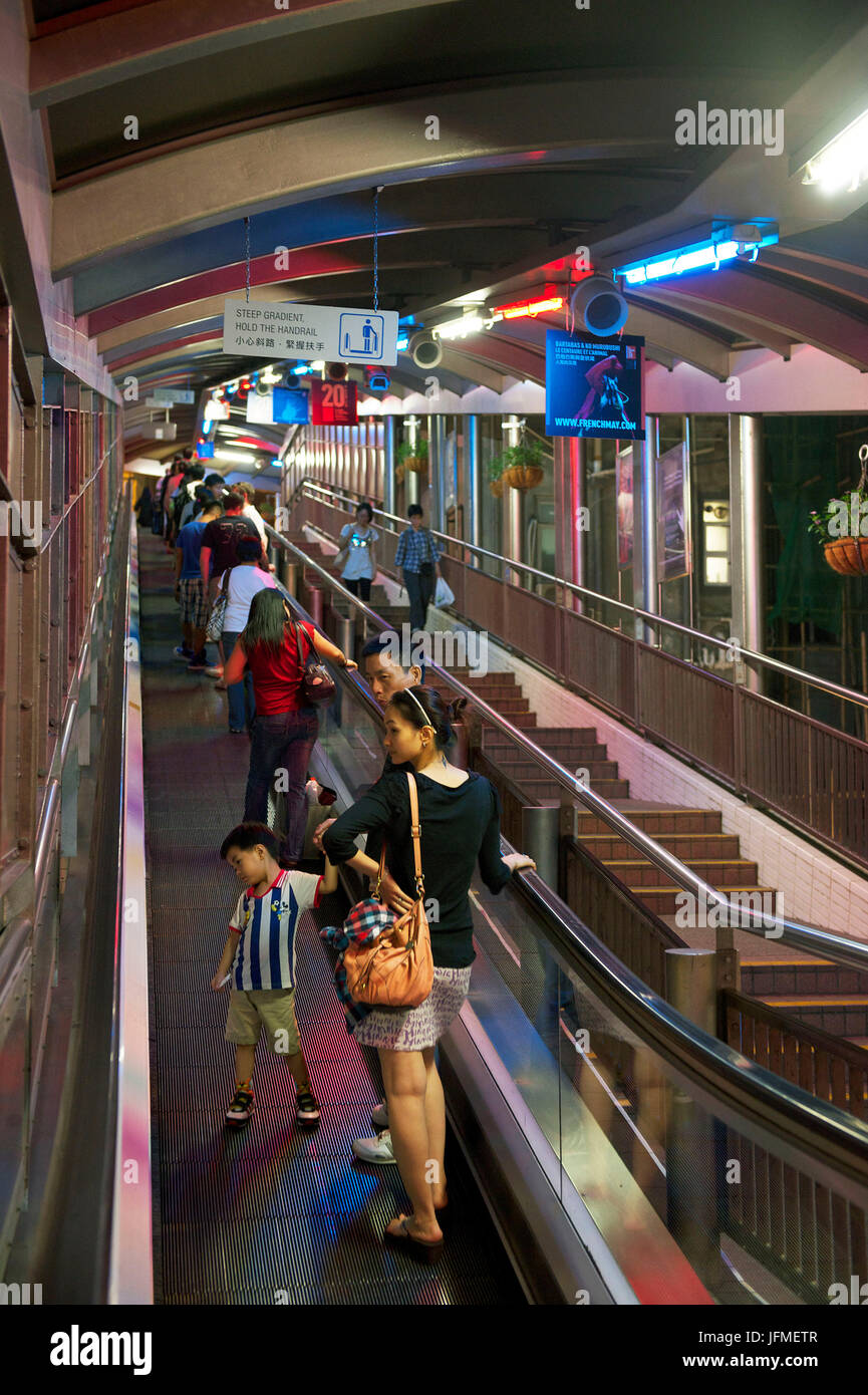 China, Honk-Kong island, escalators leading to in Soho district, the world longest outside escalator - Stock Image