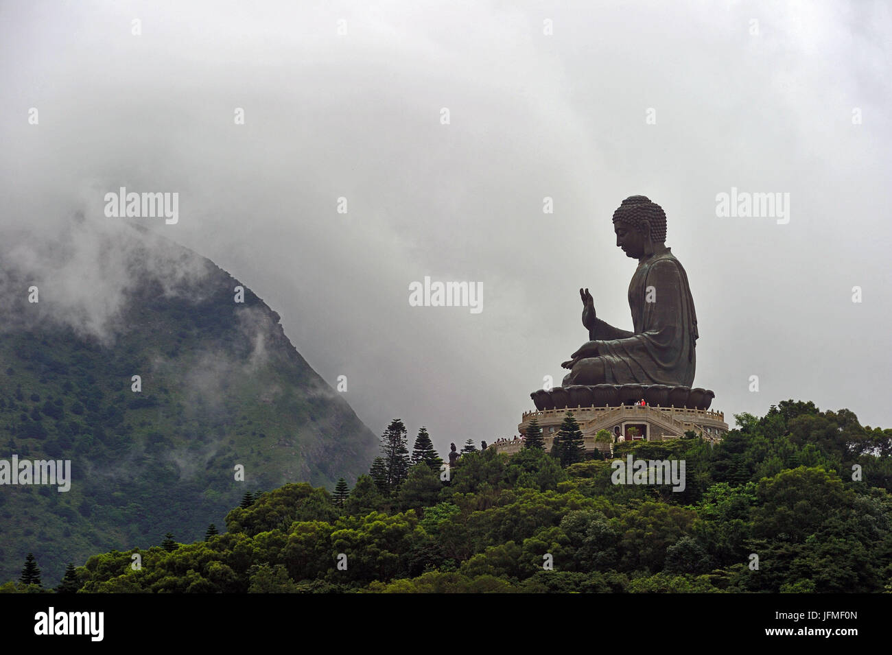 China, Hong Kong, Lantau Island, Ngong Ping,The Worlds Largest Outdoor Seated Bronze Buddha Statue at the Po Lin - Stock Image