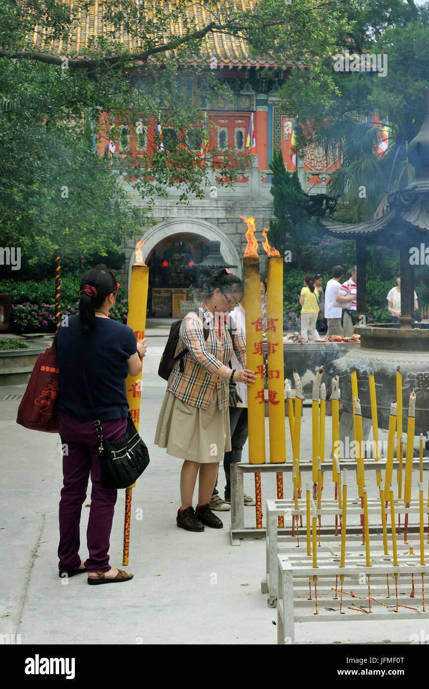 China, Hong Kong, Lantau Island, Ngong Ping, Po Lin Monastery, incence offering - Stock Image