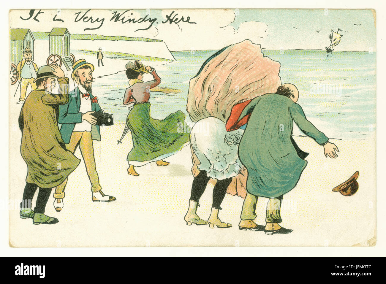 Edwardian humorous seaside postcard from the London View Co., circa 1905, U.K - Stock Image