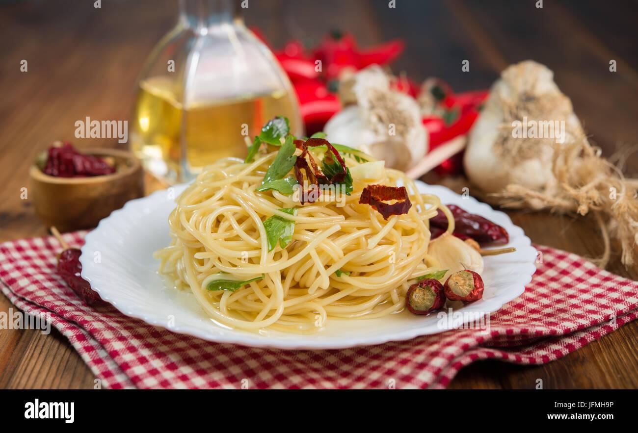 Spaghetti garlic oil and chili pepper, typical Italian