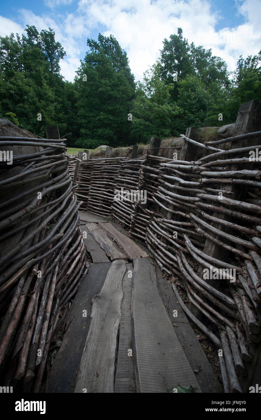 The Bayernwald Trenches are a carefully restored section of an original German trench system dating from 1916. - Stock Image