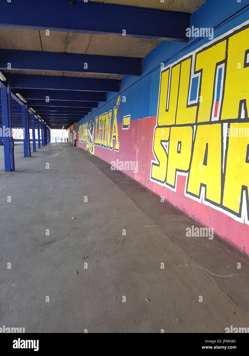 Ultras Sparta Prague, Generali Arena Exterior Grafitti - Stock Image