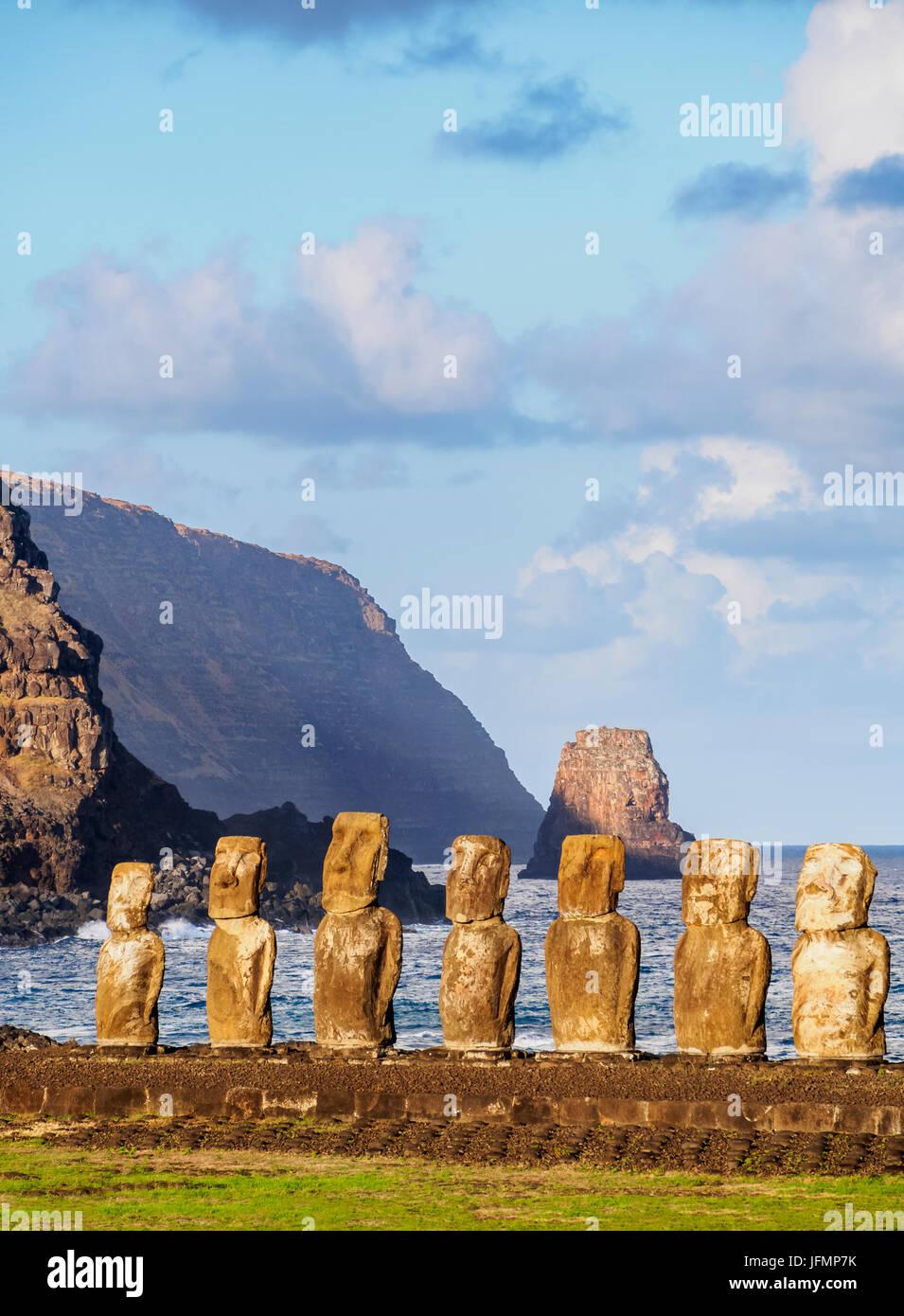 Moais in Ahu Tongariki, Rapa Nui National Park, Easter Island, Chile - Stock Image