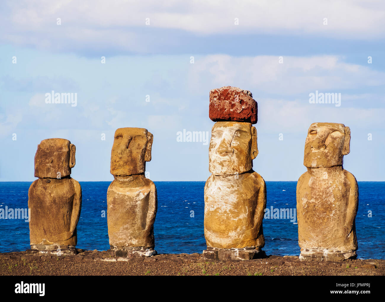 Moais in Ahu Tongariki, Rapa Nui National Park, Easter Island, Chile Stock Photo