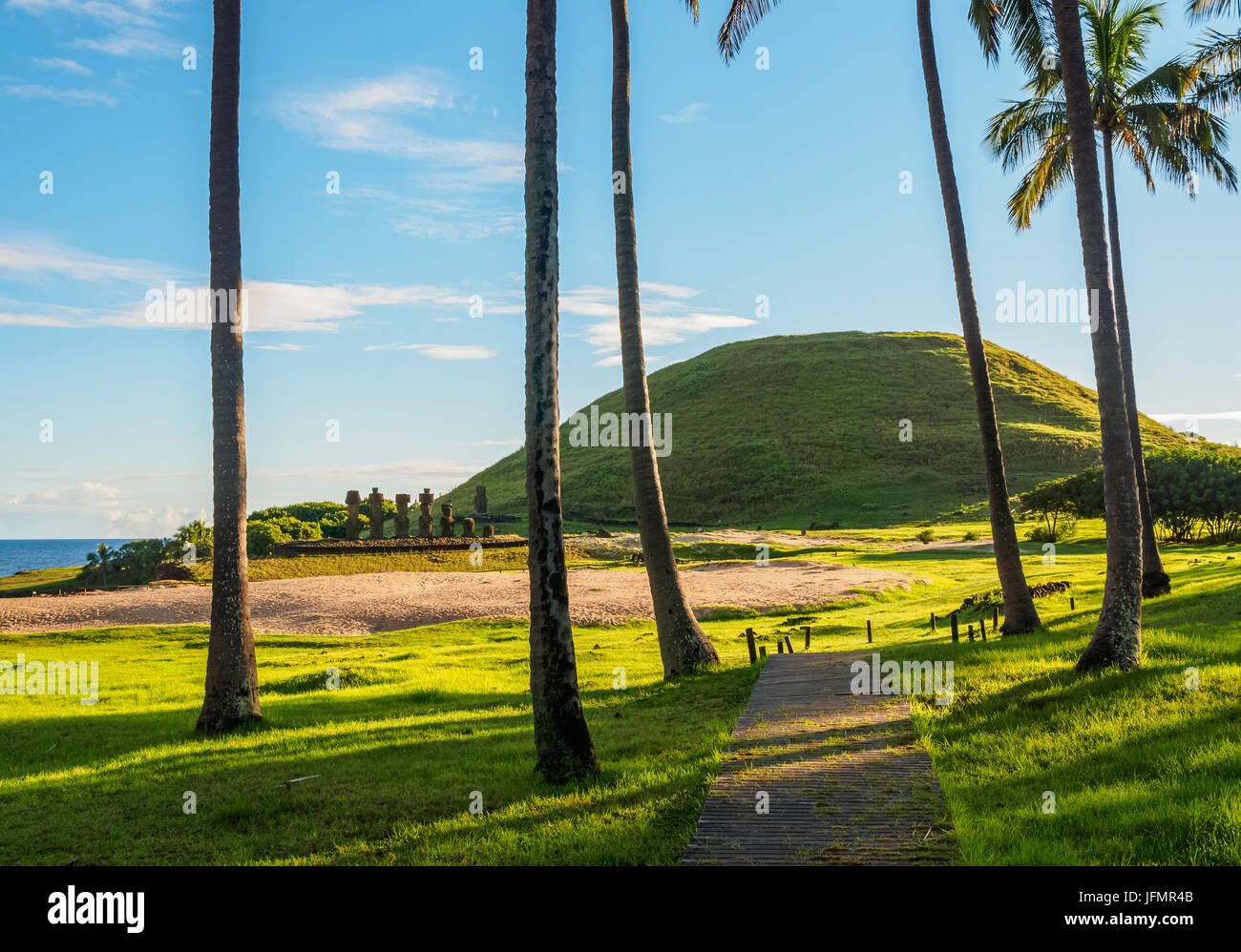 Anakena Beach, Easter Island, Chile - Stock Image