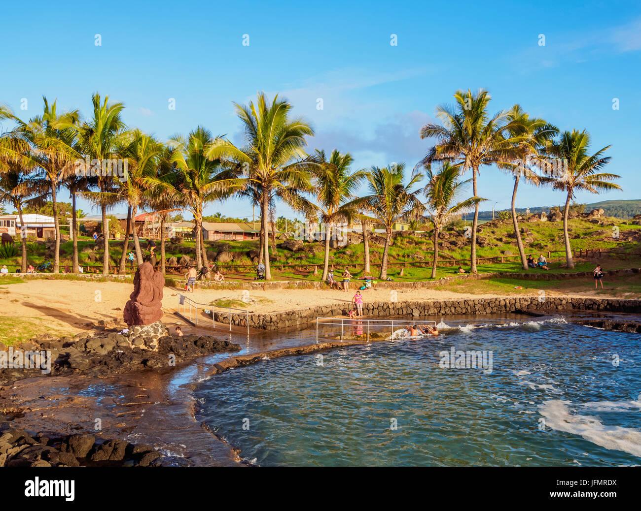 Natural Swimming Pool, Hanga Roa, Easter Island, Chile - Stock Image
