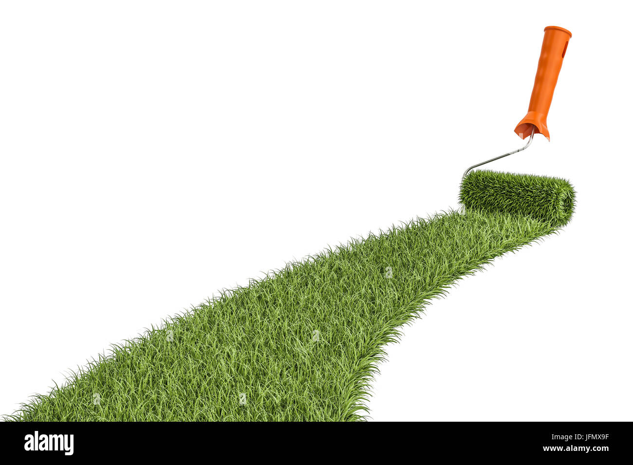 Grass with roller paintbrush  Eco-friendly concept, 3D