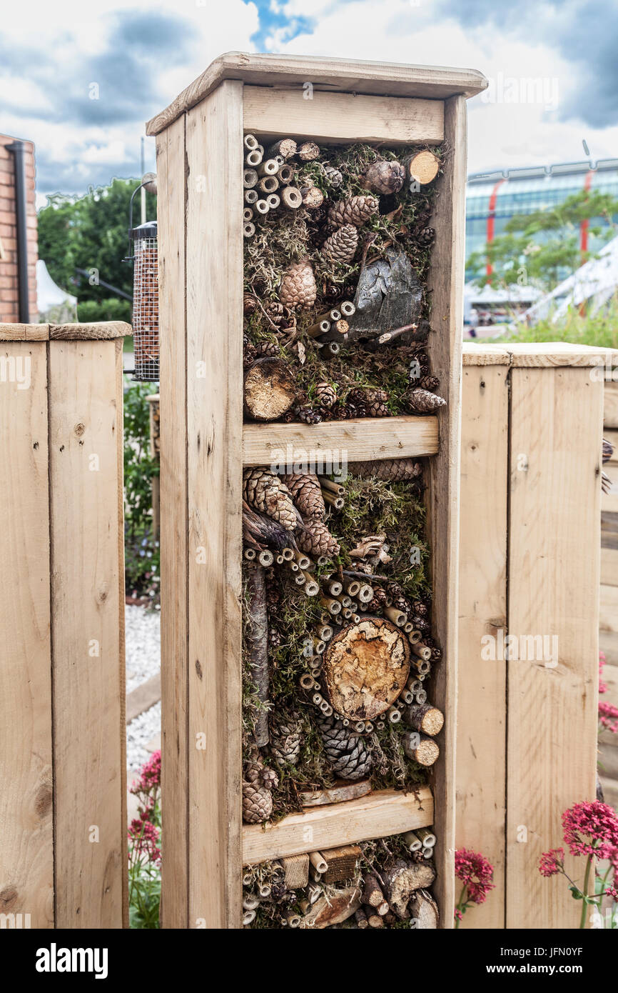 Bug Hotel from Artemis Design's Living in Sync show garden at Gardeners' World Live 2017 at the NEC, Birmingham, - Stock Image