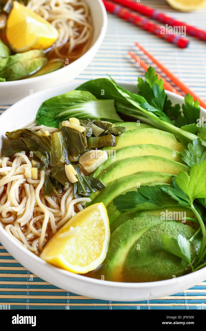 Ramen with Chow Mein Noodles - Stock Image