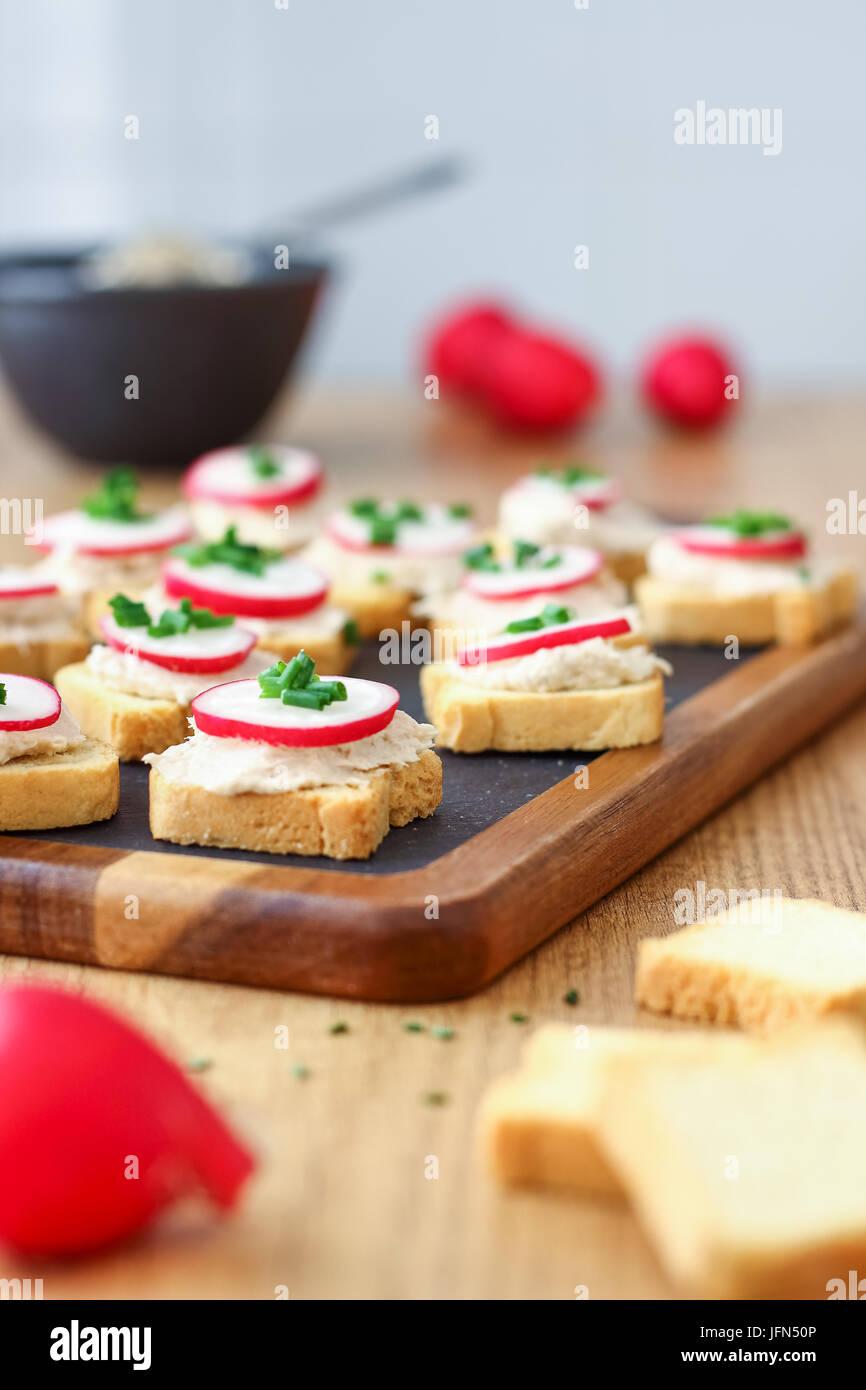 Bite Size Tuna Appetizers - Stock Image