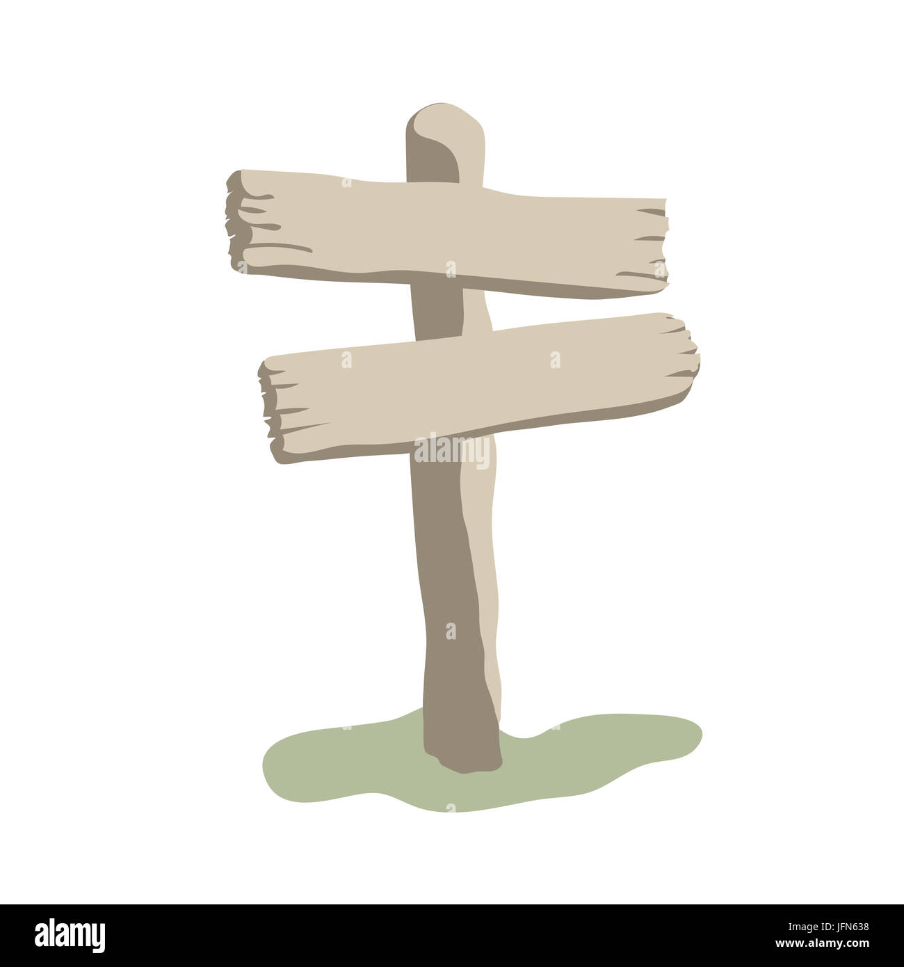 Two arrow shapes blank weathered wooden sign boards cartoon style - Stock Image