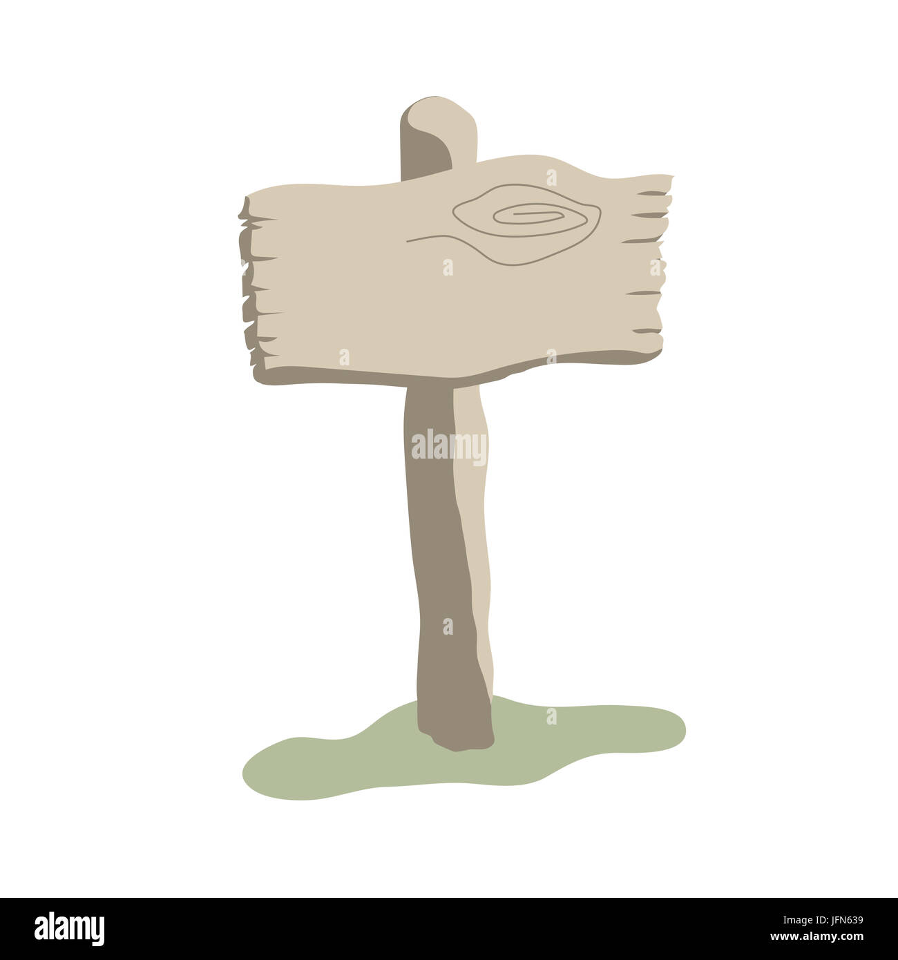 Square shape weathered wooden sign boards cartoon style - Stock Image