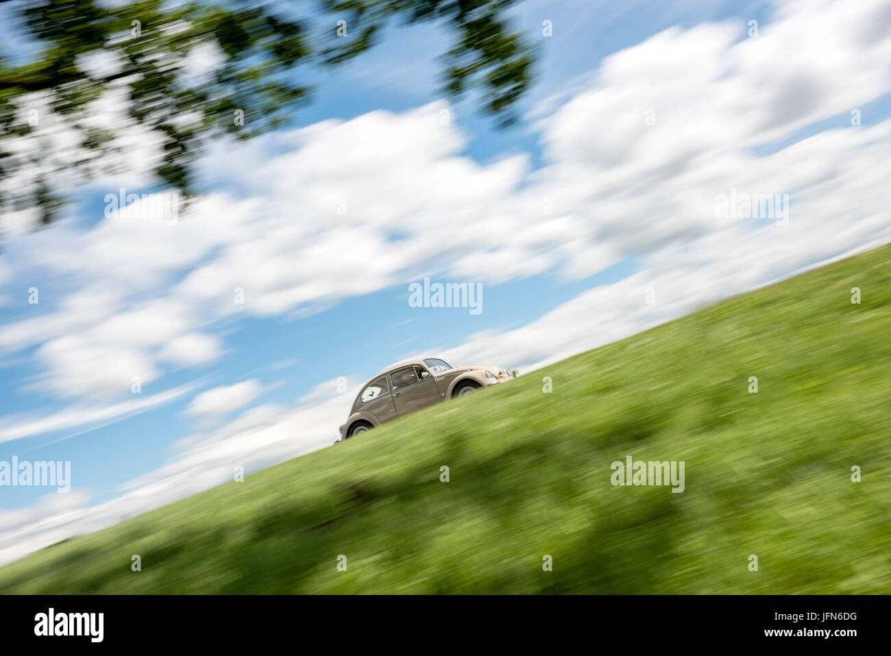 VW Beetle - Classic Car on the Road - Stock Image