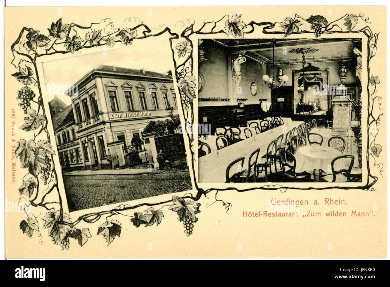 04297-Uerdingen-1903-Restaurant zum wilden Mann-Brück & Sohn Kunstverlag - Stock Image