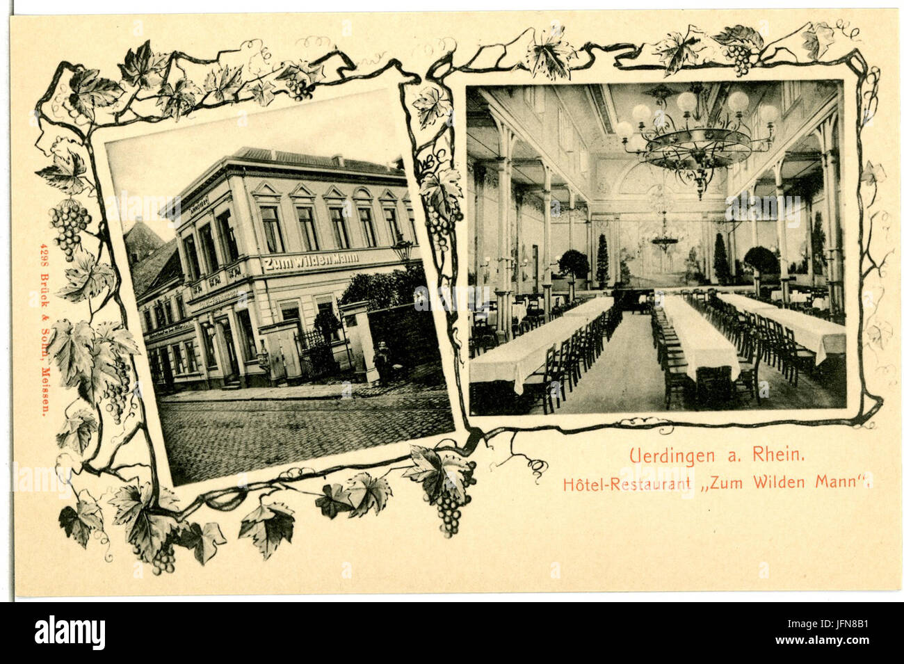 04298-Uerdingen-1903-Restaurant zum wilden Mann-Brück & Sohn Kunstverlag - Stock Image