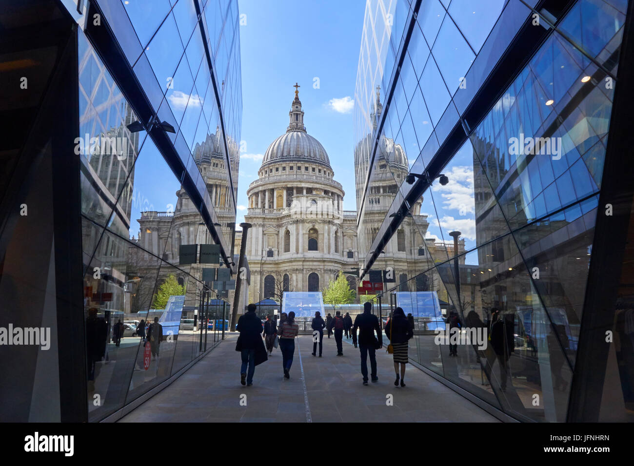 St Paul's Cathedral reflected in One New Change shopping centre in the City of London, England, United Kingdom, - Stock Image