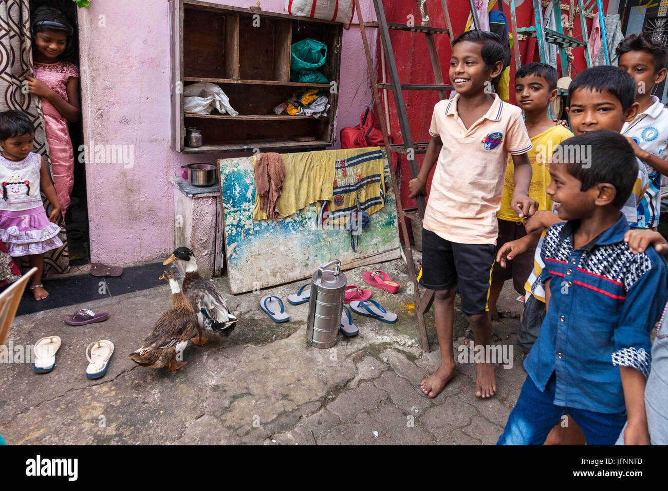 Children in south Mumbai, India - Stock Image