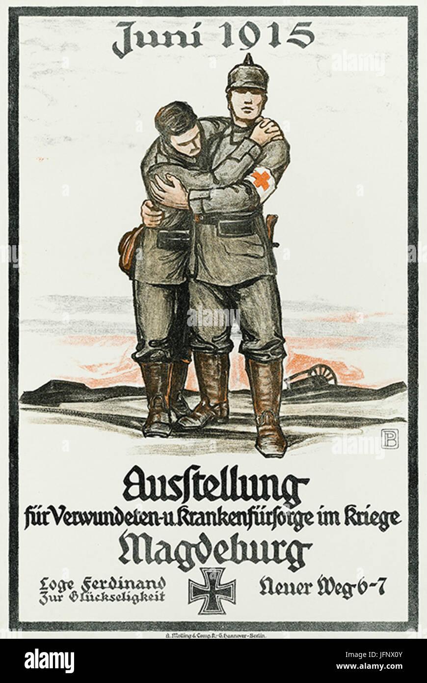 1915-06 Ausstellung Verwundeten- und Krankenfürsorge Erster Weltkrieg Magdeburg Freimaurerloge Ferdinand zur Glückseligkeit Stock Photo