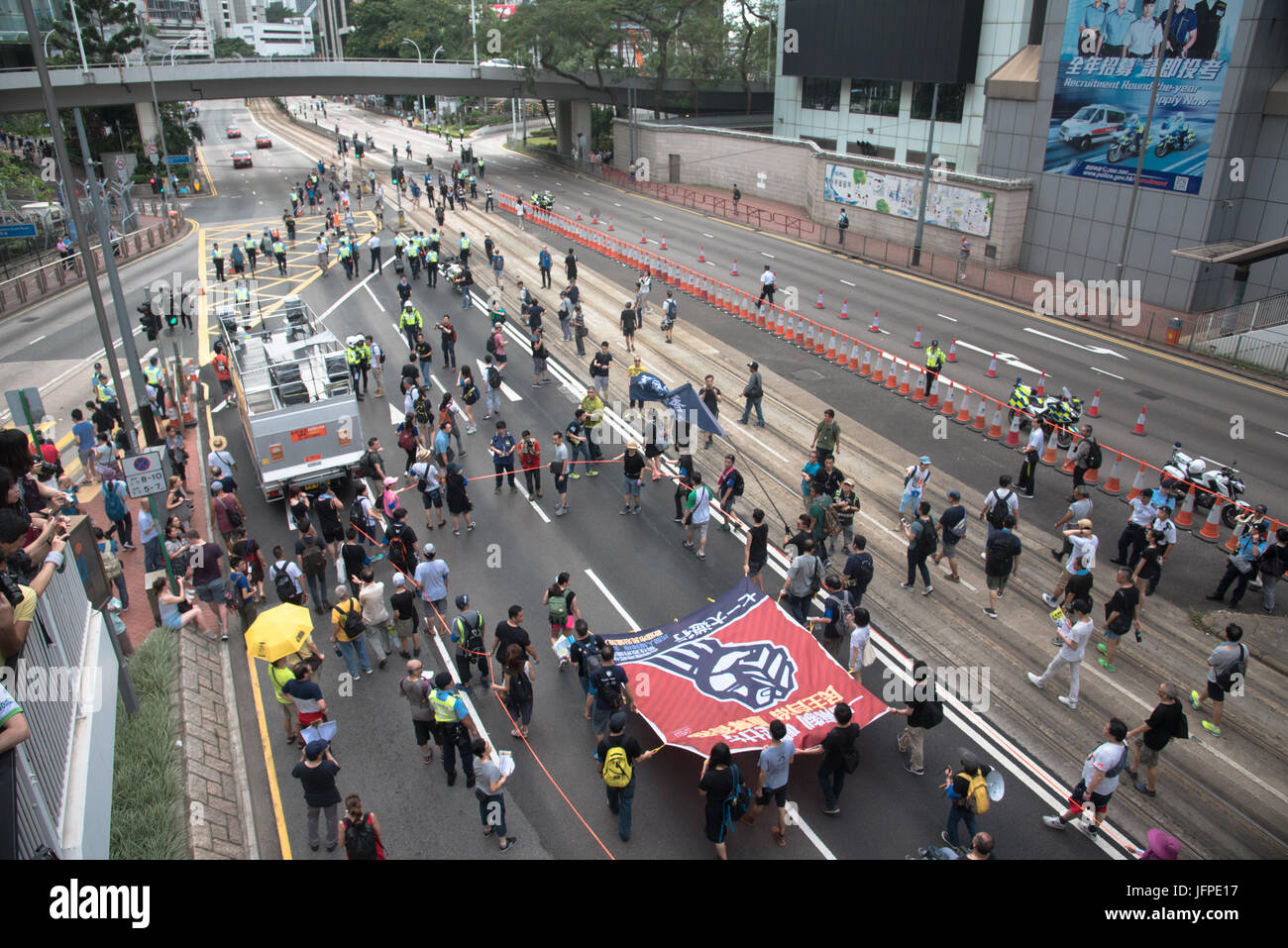 Hong Kong. 01st July, 2017. Pro-democracy protesters take part in a demonstration in Hong Kong. Thousands joined Stock Photo