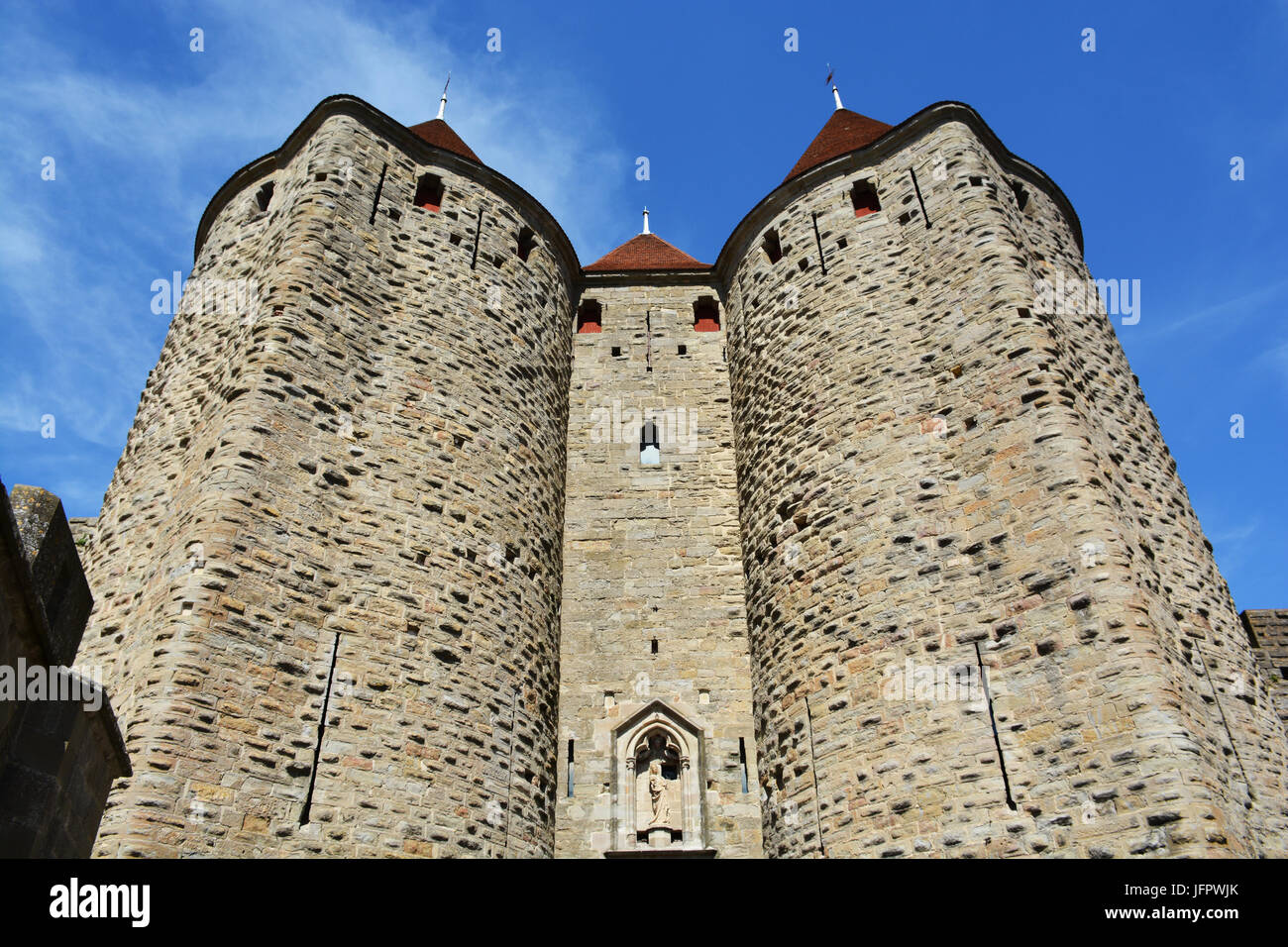 The medieval city of Carcassonne, Aude, Occitanie, France - Stock Image