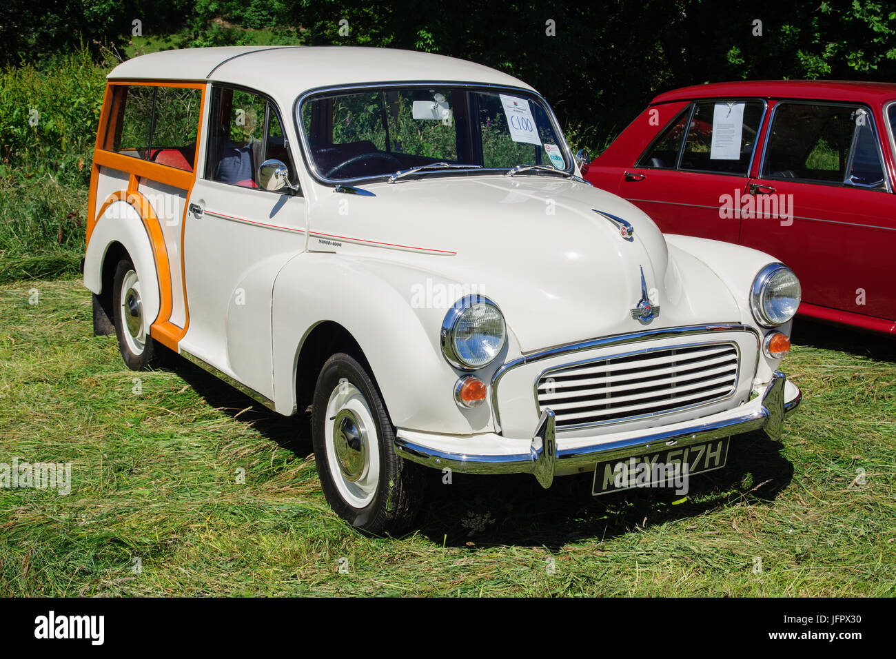 Morris Minor 1000 Traveller a classic British shooting brake car built from 1948 to 1972 with it's traditional - Stock Image