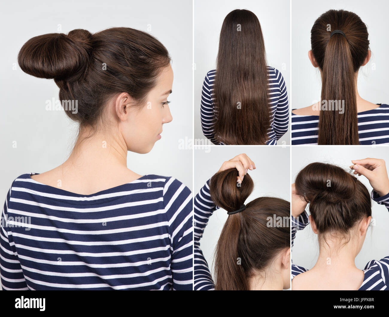easy hairstyle twisted bun for self. Casual hairstyle tutorial