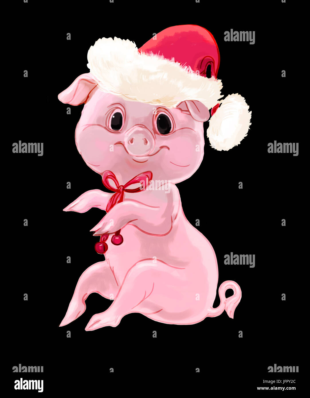 cute new year pig isolated on black background