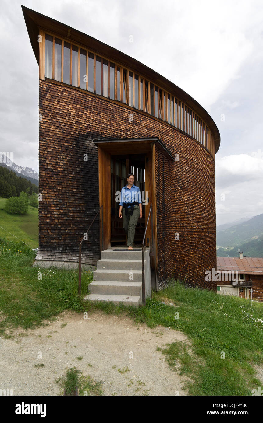 Chapel at Sogn Benedetg by the swiss Architect Peter Zumthor - Stock Image