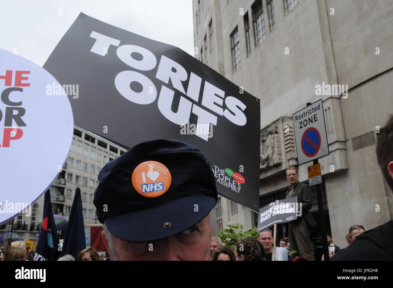 Supporters of the NHS join John McDonnell's Anti-Tory March in London. Stock Photo