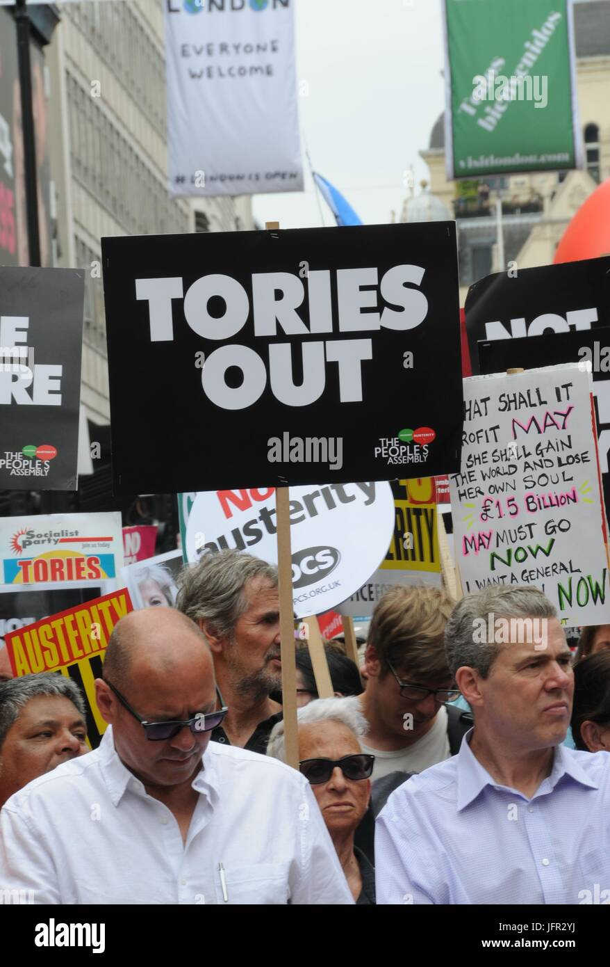 John McDonnell's Anti-Tory March in London. - Stock Image