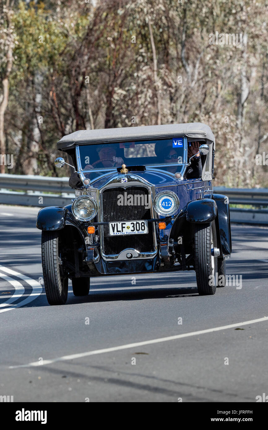 Vintage 1928 Buick Standard 6 Tourer driving on country roads near the town of Birdwood, South Australia. - Stock Image