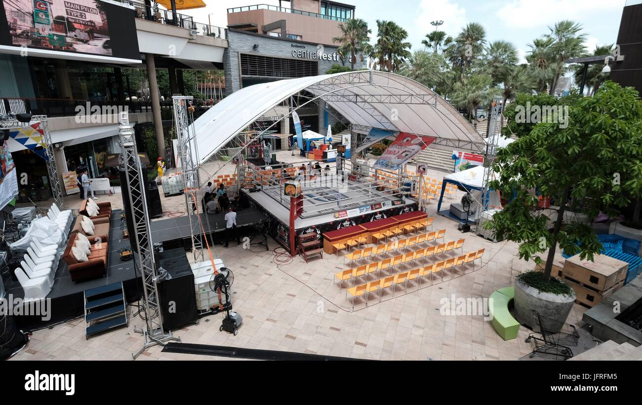 Muay Thai Muay Thai Art of Eight Limbs Four Points Combat Sport Professional Boxing Ring Outdoor Set Up Pattaya - Stock Image