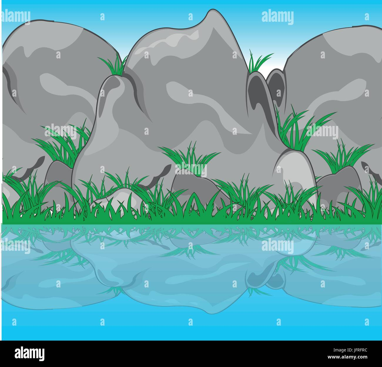 Stone reflection in water - Stock Vector