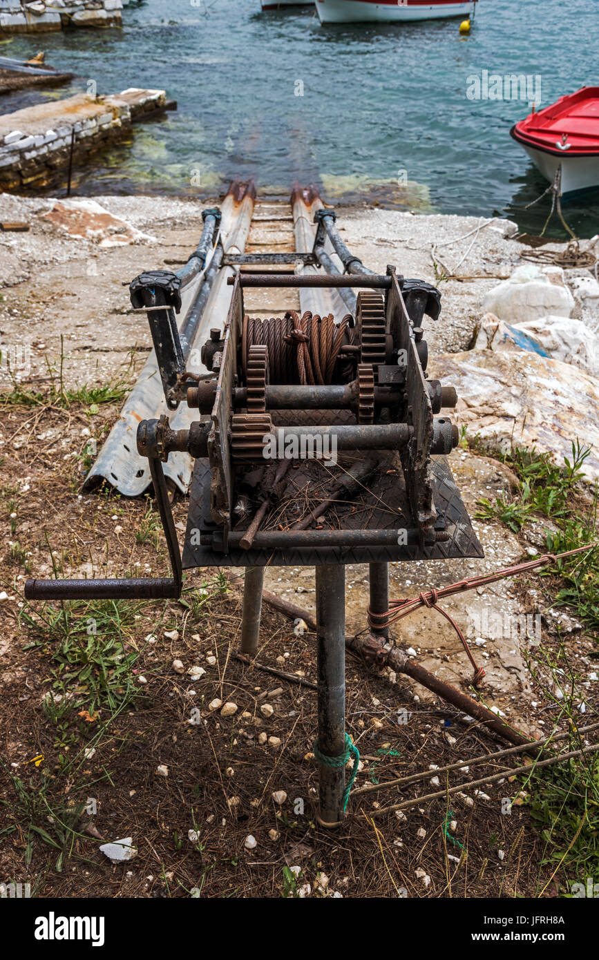 Old Boat Winch. - Stock Image