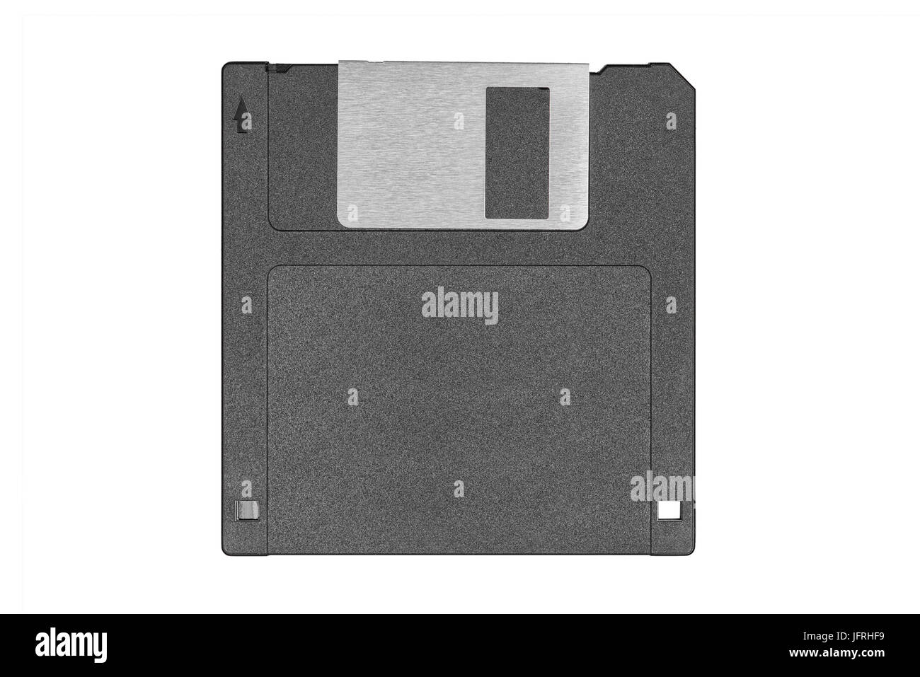 top view of a black vintage floppy disk on white background - Stock Image