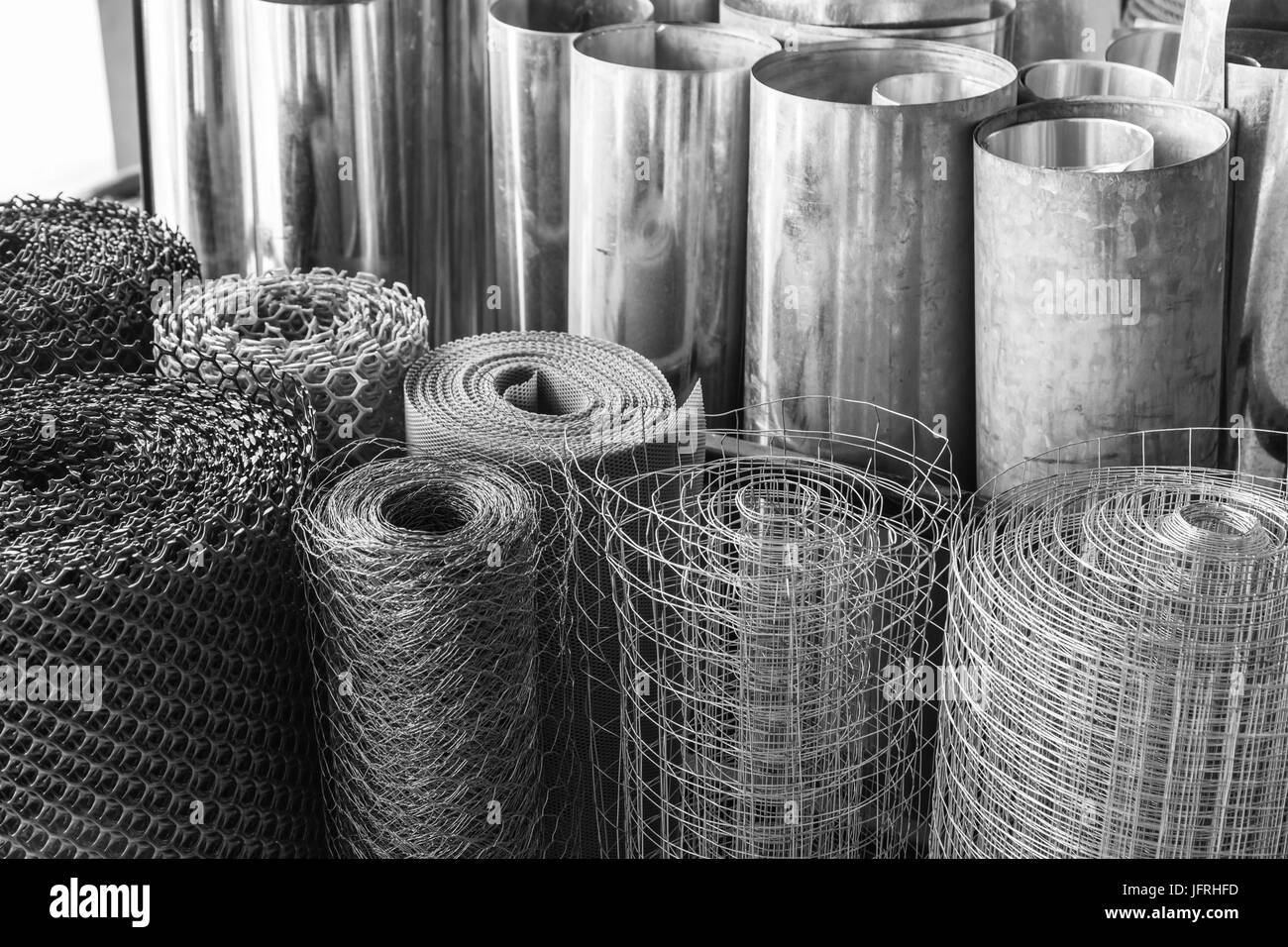 rolls of galvanized metal sheets, steel chicken wire mesh, and Stock ...