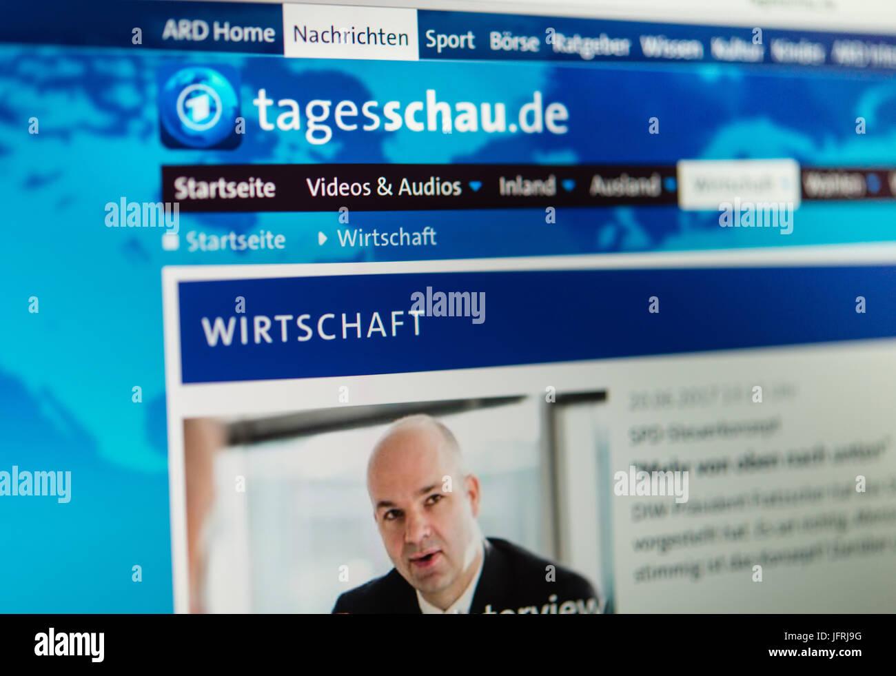 Tagesschau, economics site, internet, screenshot, detail - Stock Image