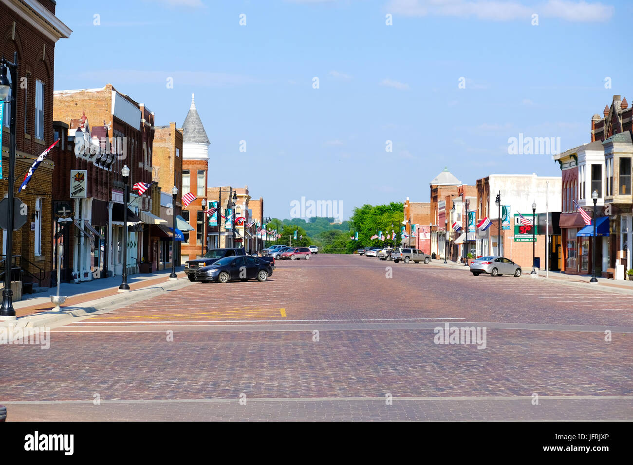 View of downtown Seneca, Kansas on a summer day Stock Photo