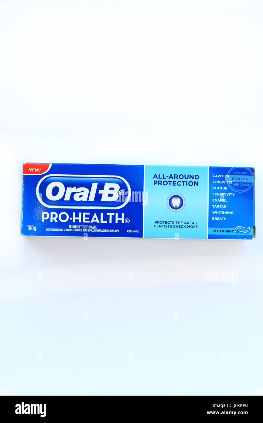 Oral B Pro Health toothpaste isolated against white background Stock