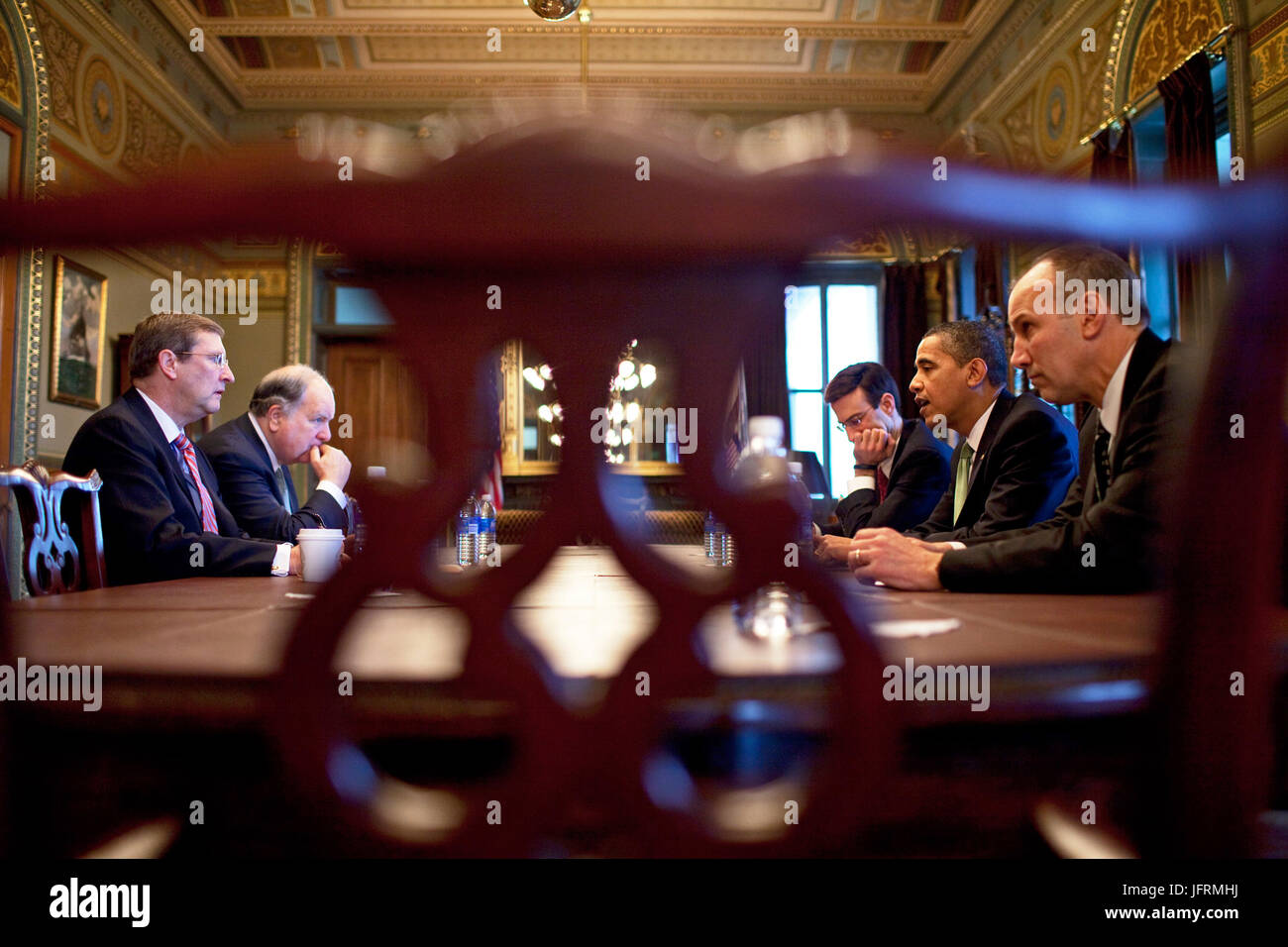 President Barack Obama meets with Senate Budget Committee Chairman Sen. Kent Conrad, D-N.D., House Budget Committee - Stock Image